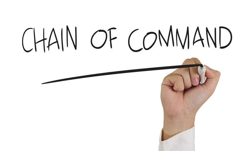 The chain of command can change within a given scenario.